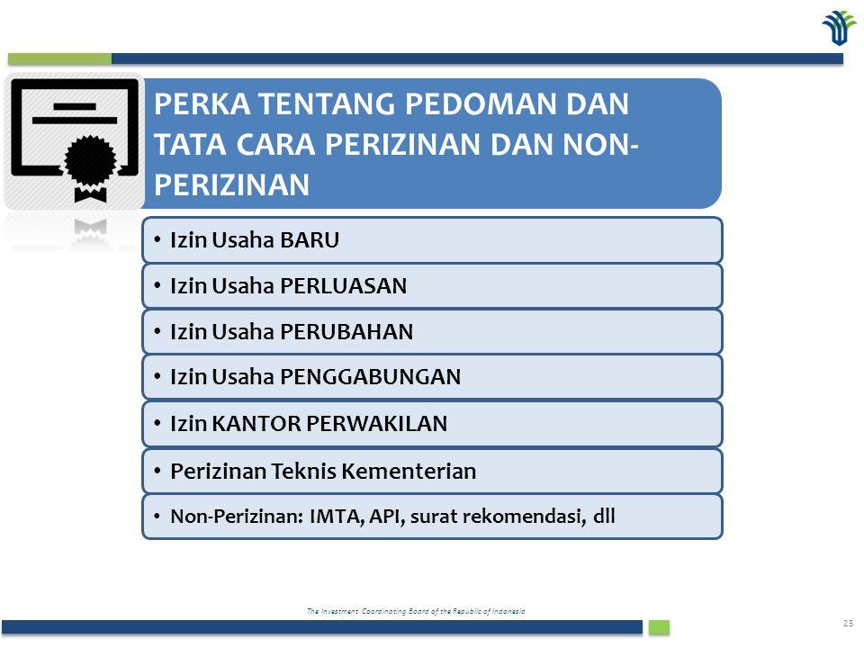 The Investment Coordinating Board of the Republic of Indonesia 25 PERKA TENTANG PEDOMAN DAN TATA CARA PERIZINAN DAN NON- PERIZINAN Izin Usaha BARU Izin Usaha PERLUASAN Izin Usaha PERUBAHAN Izin Usaha PENGGABUNGAN Izin KANTOR PERWAKILAN Perizinan Teknis Kementerian Non-Perizinan: IMTA, API, surat rekomendasi, dll