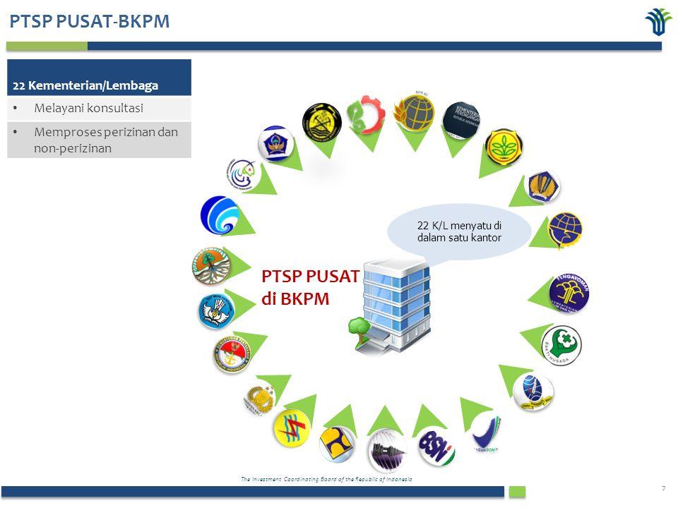The Investment Coordinating Board of the Republic of Indonesia 7 PTSP PUSAT-BKPM PTSP PUSAT di BKPM 22 K/L menyatu di dalam satu kantor 22 Kementerian/Lembaga Melayani konsultasi Memproses perizinan dan non-perizinan