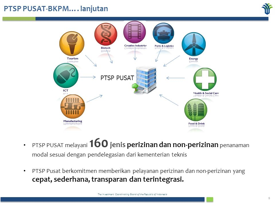 The Investment Coordinating Board of the Republic of Indonesia 8 PTSP PUSAT PTSP PUSAT melayani 160 jenis perizinan dan non-perizinan penanaman modal sesuai dengan pendelegasian dari kementerian teknis PTSP Pusat berkomitmen memberikan pelayanan perizinan dan non-perizinan yang cepat, sederhana, transparan dan terintegrasi.