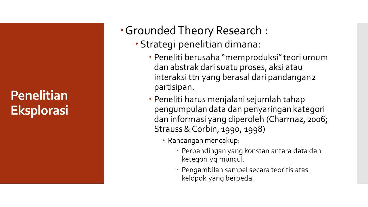 Penelitian Eksplorasi  Grounded Theory Research :  Strategi penelitian dimana:  Peneliti berusaha memproduksi teori umum dan abstrak dari suatu proses, aksi atau interaksi ttn yang berasal dari pandangan2 partisipan.