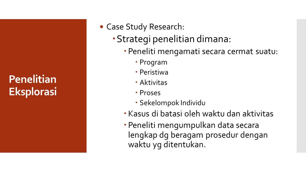 Penelitian Eksplorasi Case Study Research:  Strategi penelitian dimana:  Peneliti mengamati secara cermat suatu:  Program  Peristiwa  Aktivitas  Proses  Sekelompok Individu  Kasus di batasi oleh waktu dan aktivitas  Peneliti mengumpulkan data secara lengkap dg beragam prosedur dengan waktu yg ditentukan.