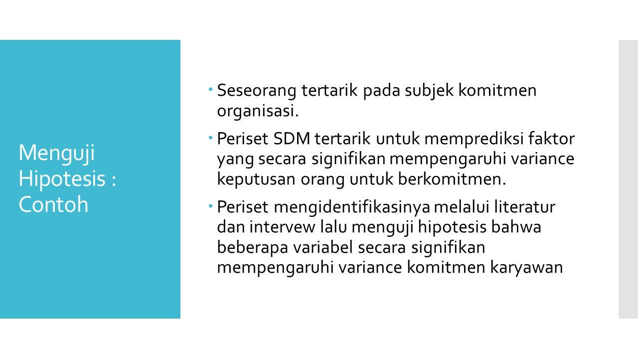 Menguji Hipotesis : Contoh  Seseorang tertarik pada subjek komitmen organisasi.