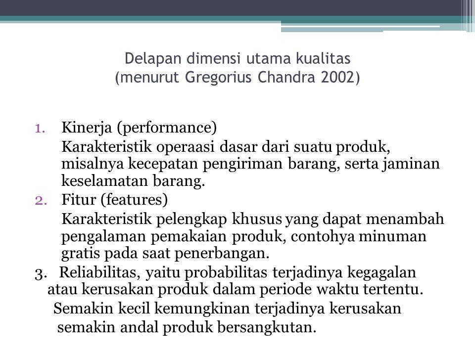Delapan dimensi utama kualitas (menurut Gregorius Chandra 2002) 1.Kinerja (performance) Karakteristik operaasi dasar dari suatu produk, misalnya kecepatan pengiriman barang, serta jaminan keselamatan barang.