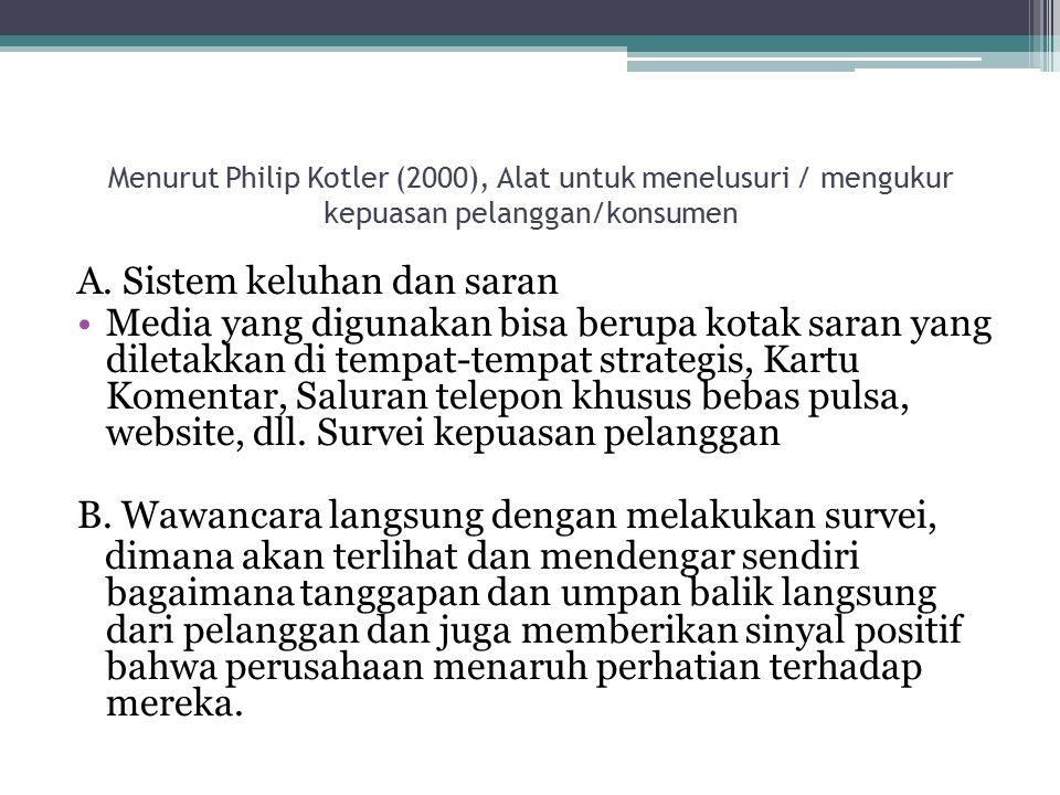Menurut Philip Kotler (2000), Alat untuk menelusuri / mengukur kepuasan pelanggan/konsumen A.