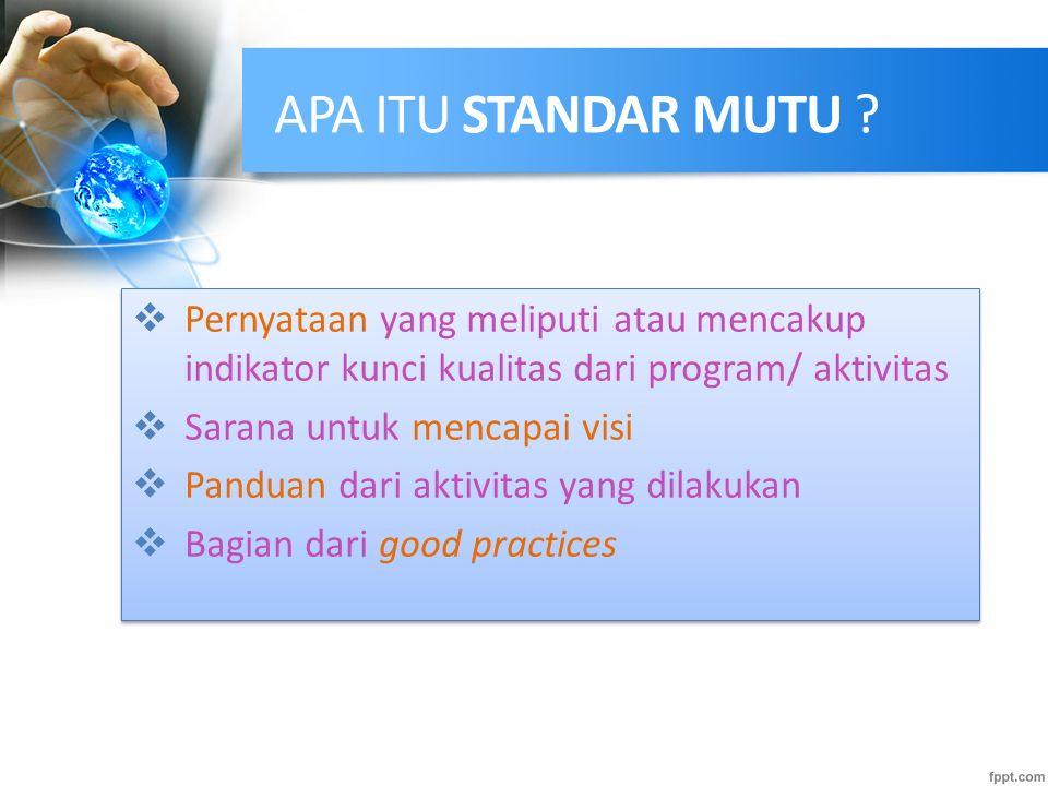 FUNGSI STANDAR MUTU Good practices Proses perencanaan yang baik Evaluasi Internal Evaluasi Eksternal Benchmarking dan peningkatan mutu yang kontinyu G