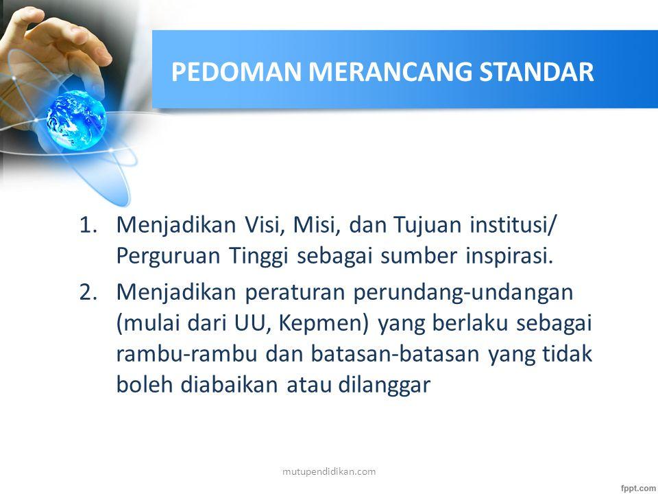 PENGERTIAN STANDAR Pernyataan tertulis yang berisi satu atau kedua hal berikut ini: – Spesifikasi atau rincian tentang sesuatu hal khusus, yang memper
