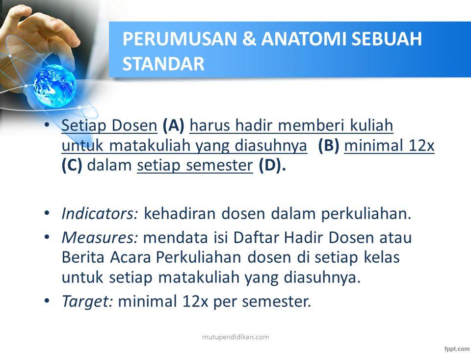 PERUMUSAN & ANATOMI SEBUAH STANDAR Dekan dan Ketua Jurusan (A) melakukan rekrutasi, pembinaan dan pengembangan dosen tetap (B) agar tercapai rasio dos