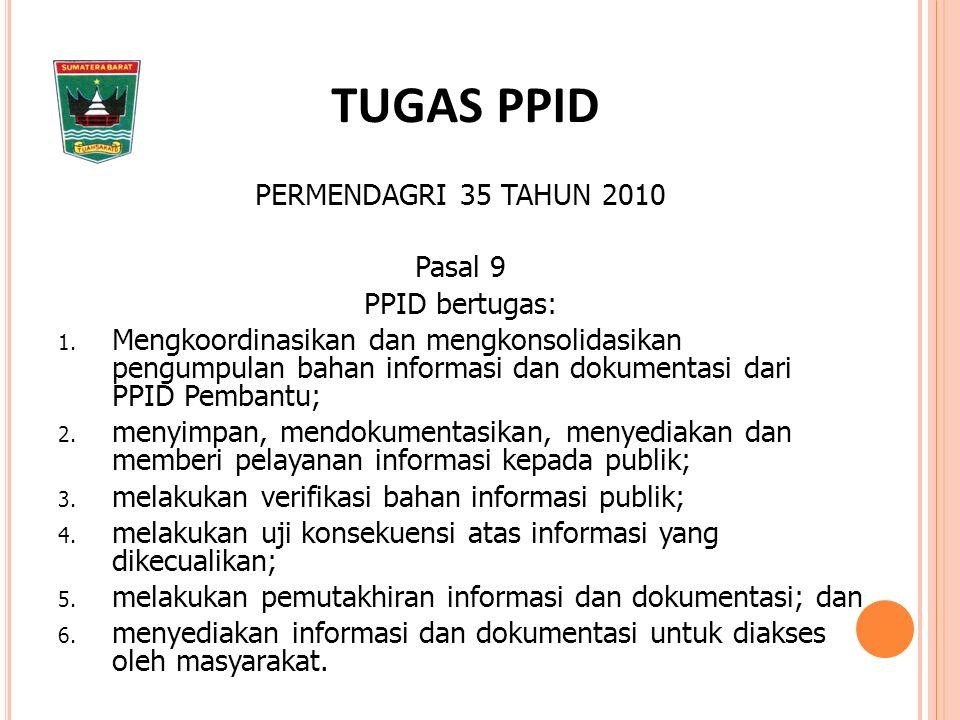 PERMENDAGRI 35 TAHUN 2010 Pasal 9 PPID bertugas: 1.