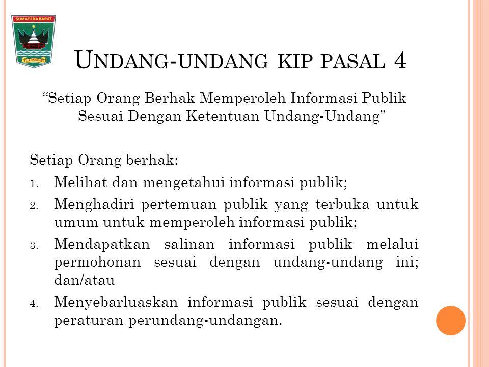 U NDANG - UNDANG KIP PASAL 4 Setiap Orang Berhak Memperoleh Informasi Publik Sesuai Dengan Ketentuan Undang-Undang Setiap Orang berhak: 1.