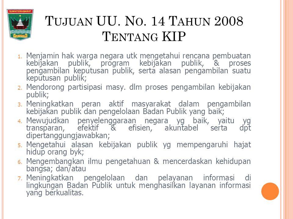 KLASIFIKASI INFORMASI Informasi publik berdasarkan klasifikasinya terdiri dari: 1.