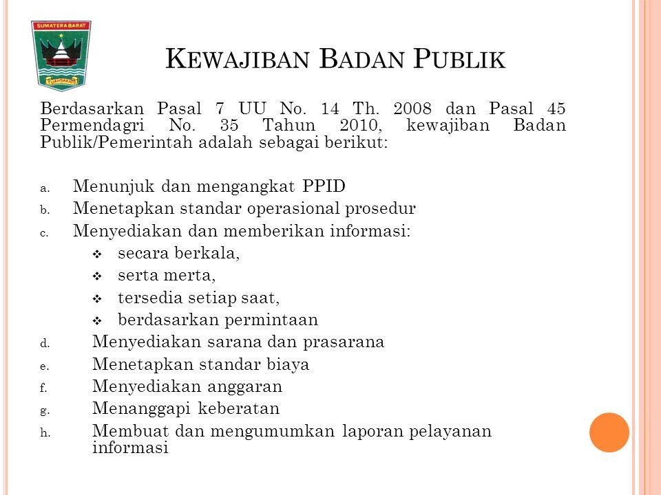 K EWAJIBAN B ADAN P UBLIK Berdasarkan Pasal 7 UU No.