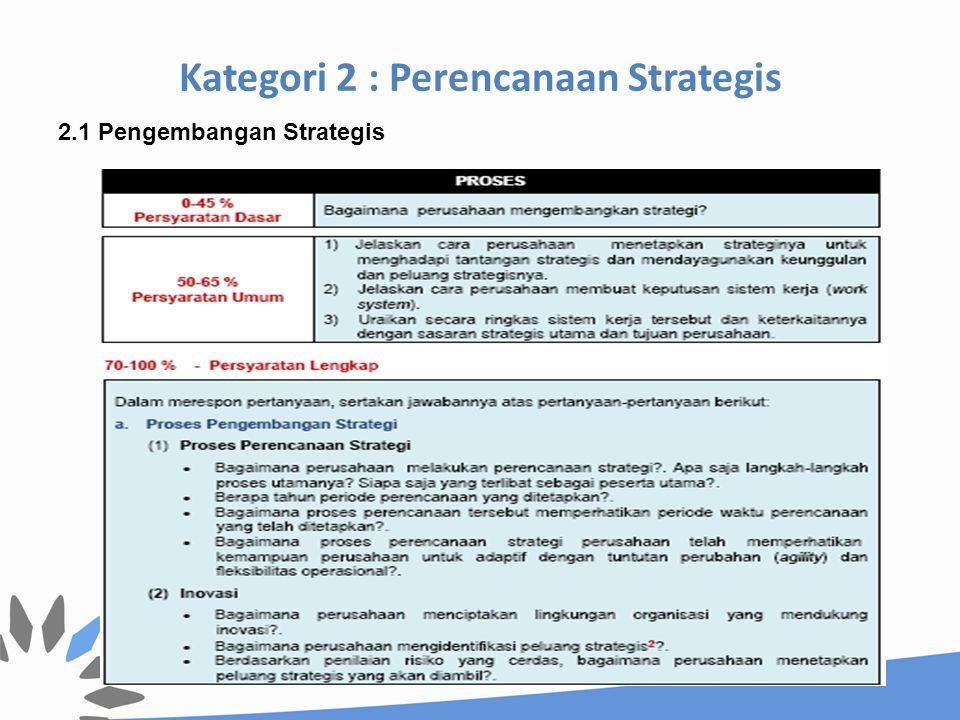Kategori 2 : Perencanaan Strategis