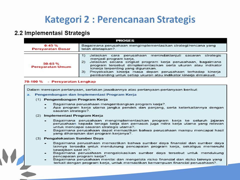 Kategori 2 : Perencanaan Strategis 2.2 Implementasi Strategis