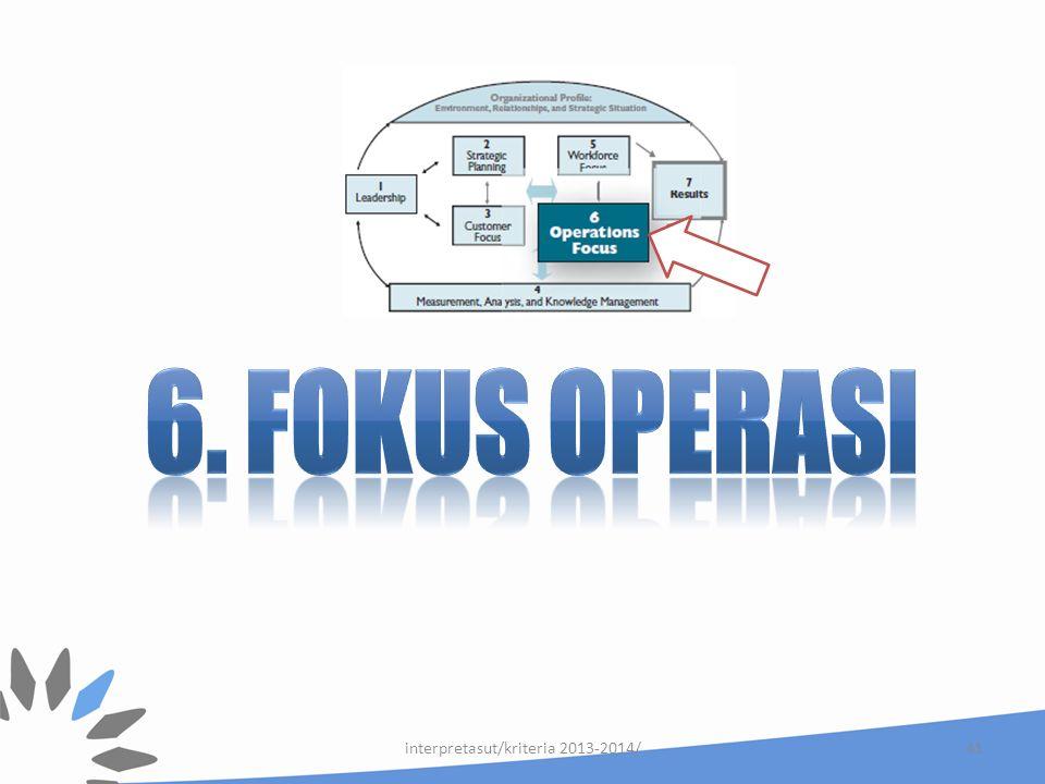 Kategori 6 : Fokus Operasi 6.1 Proses Kerja
