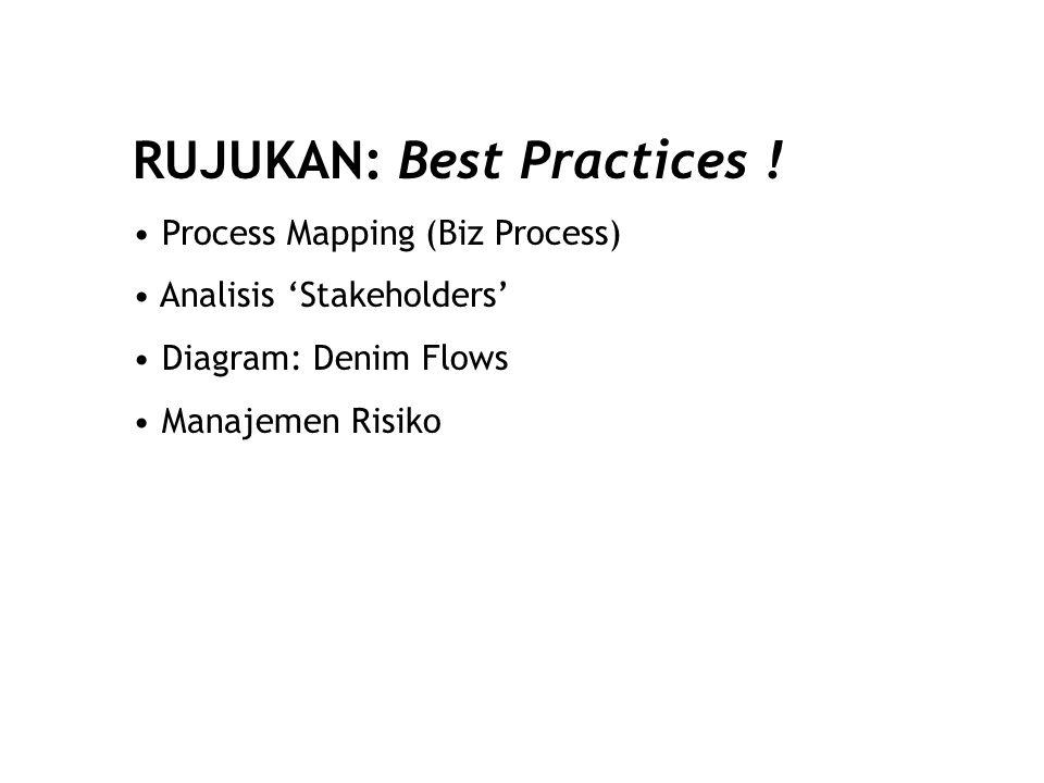RUJUKAN: Best Practices ! Process Mapping (Biz Process) Analisis 'Stakeholders' Diagram: Denim Flows Manajemen Risiko
