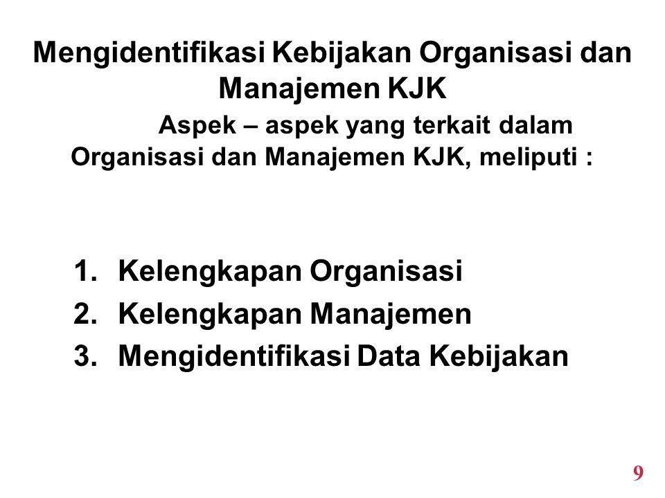 Mengidentifikasi Kebijakan Organisasi dan Manajemen KJK Aspek – aspek yang terkait dalam Organisasi dan Manajemen KJK, meliputi : 1.Kelengkapan Organisasi 2.Kelengkapan Manajemen 3.Mengidentifikasi Data Kebijakan 9