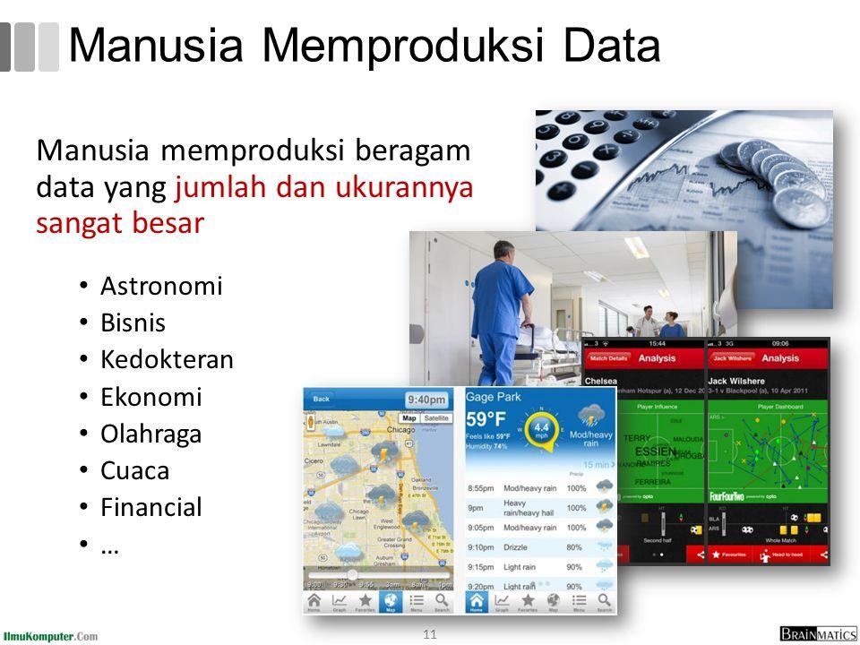 Manusia Memproduksi Data Manusia memproduksi beragam data yang jumlah dan ukurannya sangat besar Astronomi Bisnis Kedokteran Ekonomi Olahraga Cuaca Financial … 11