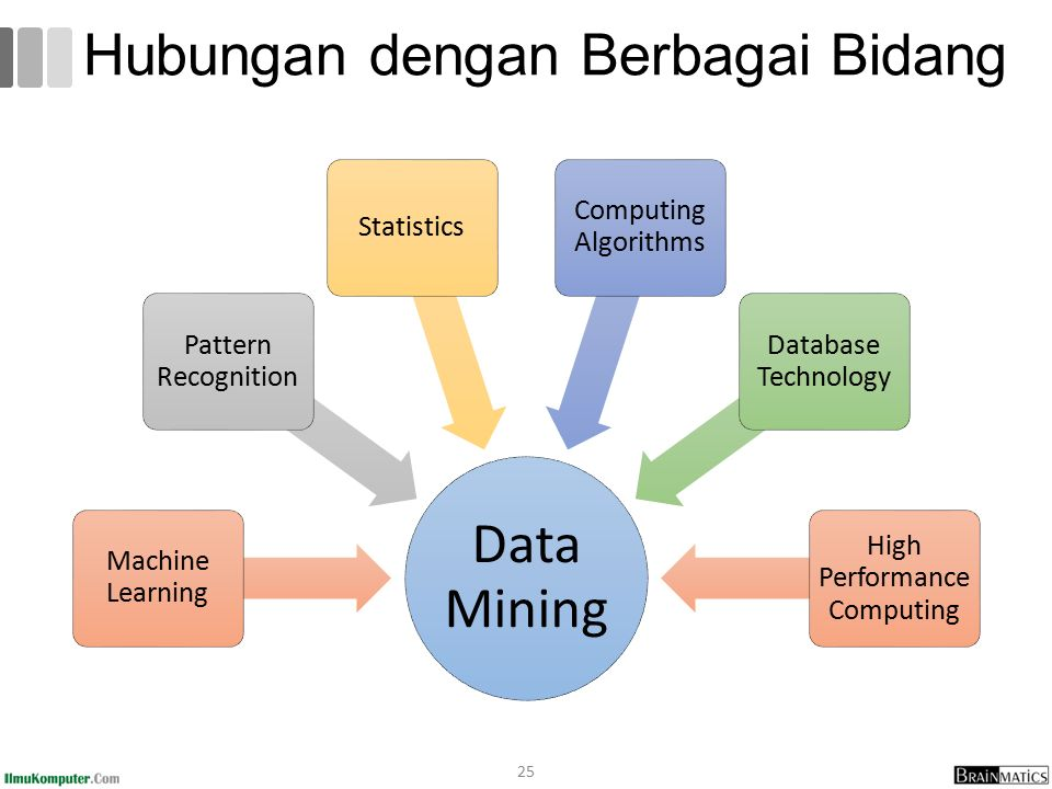 Hubungan dengan Berbagai Bidang Data Mining Machine Learning Pattern Recognition Statistics Computing Algorithms Database Technology High Performance