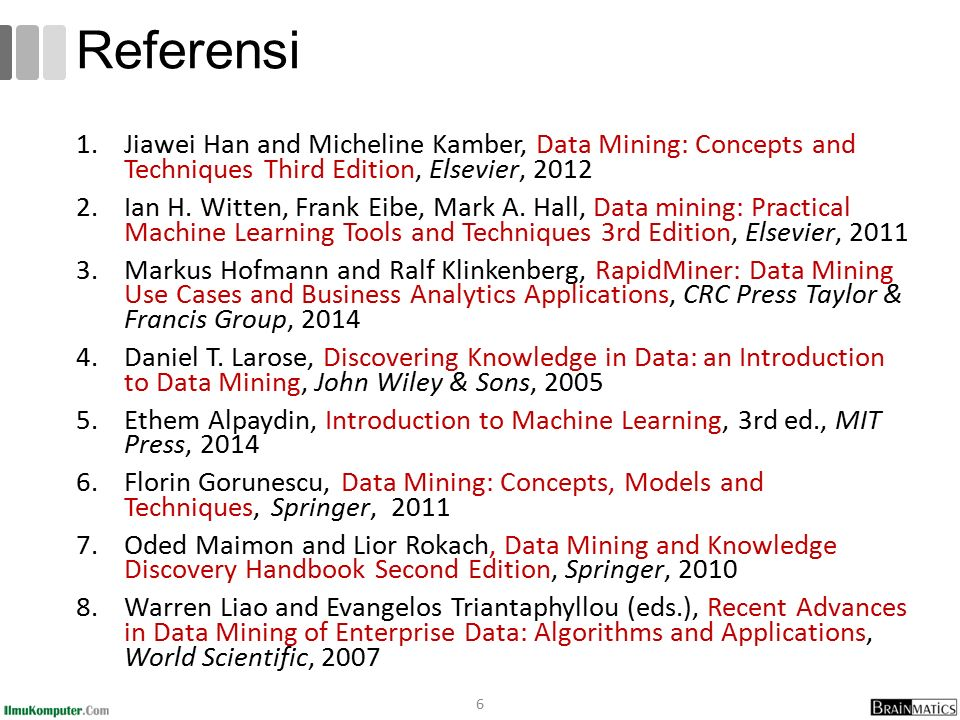 Main Journals Publications ACM Transactions on Knowledge Discovery from Data (TKDD) ACM Transactions on Information Systems (TOIS) IEEE Transactions on Knowledge and Data Engineering Springer Data Mining and Knowledge Discovery International Journal of Business Intelligence and Data Mining (IJBIDM) 67