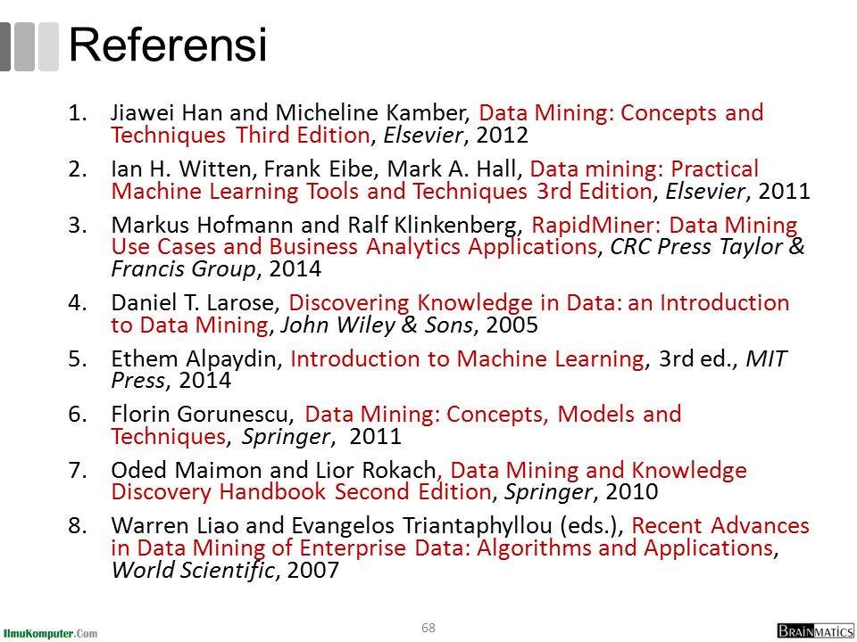 1.Jiawei Han and Micheline Kamber, Data Mining: Concepts and Techniques Third Edition, Elsevier, 2012 2.Ian H.