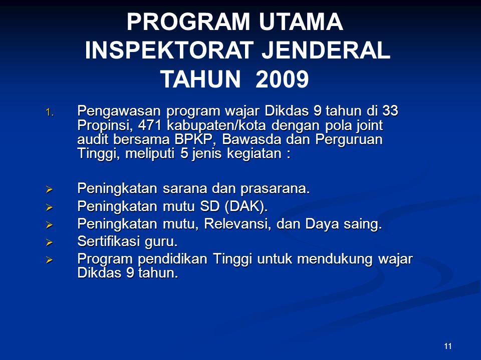 11 PROGRAM UTAMA INSPEKTORAT JENDERAL TAHUN 2009 1.