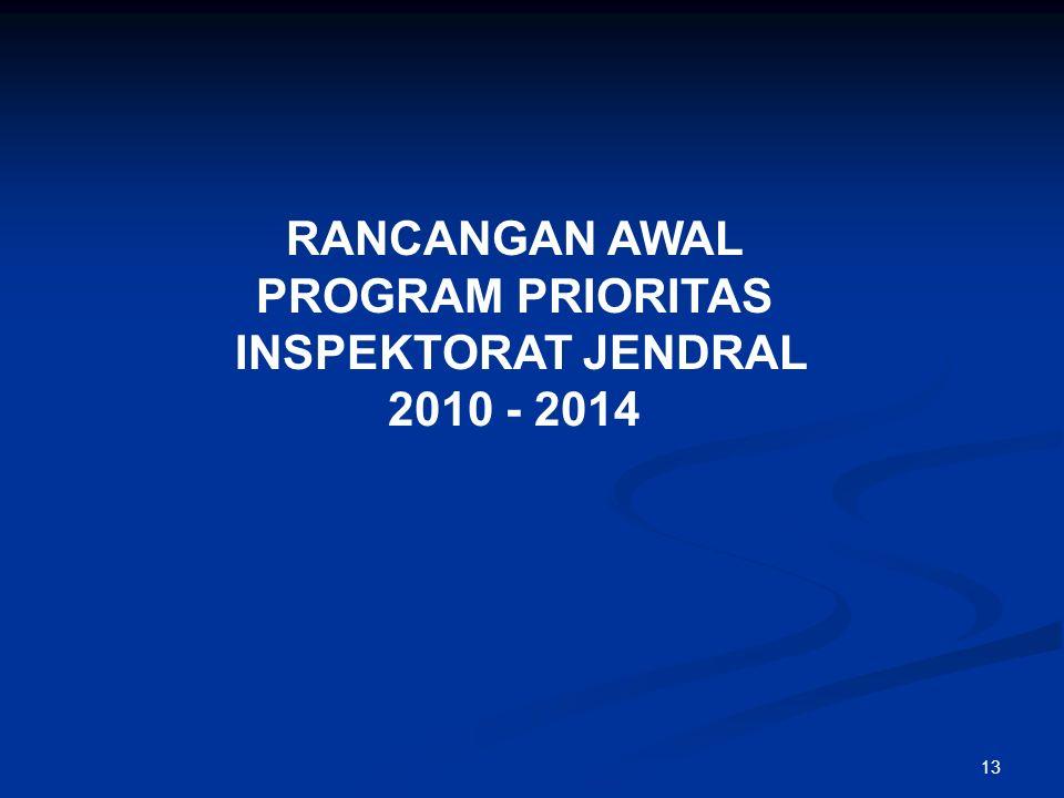 13 RANCANGAN AWAL PROGRAM PRIORITAS INSPEKTORAT JENDRAL 2010 - 2014