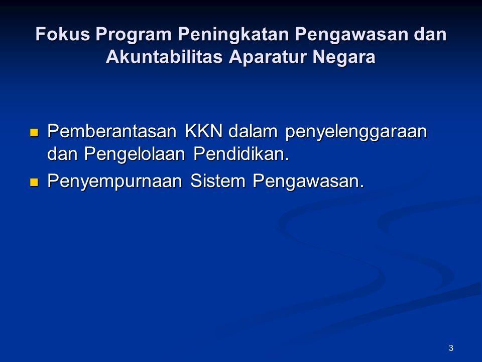 14 TARGET PROGRAM ITJEN 2010 – 2014 Fokus Prioritas :  Penguatan Tata Kelola Sistem Pengendalian Manajemen dan Sistem Pengawasan Internal.
