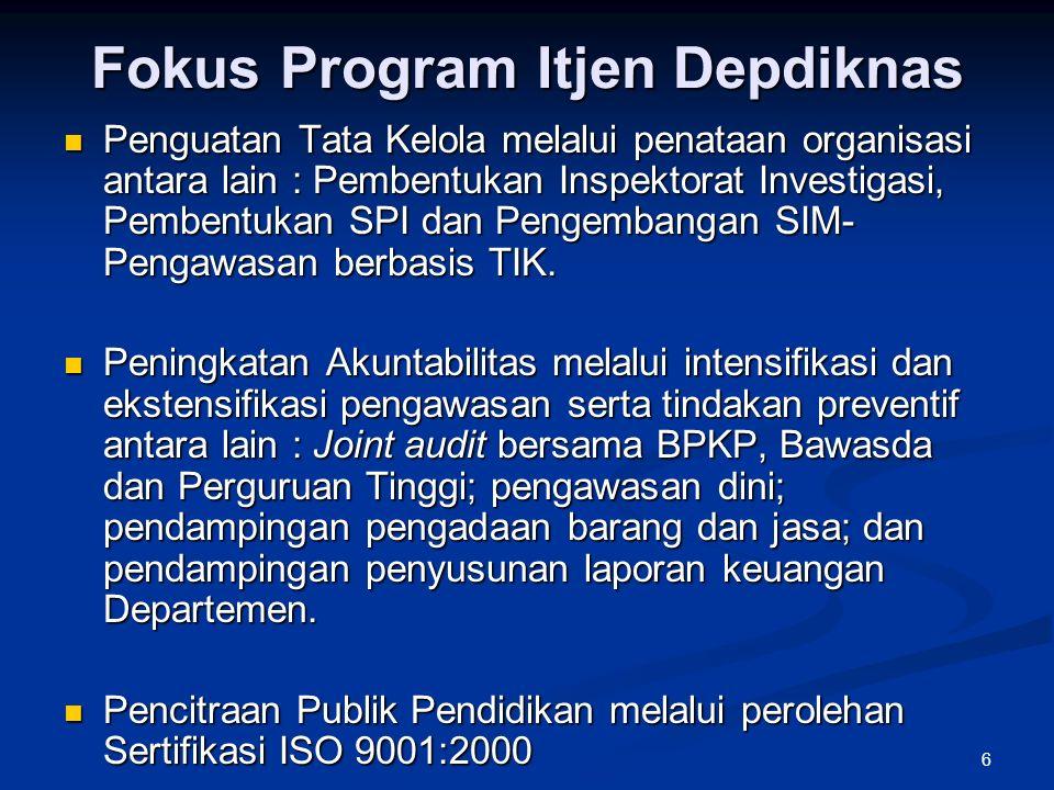 6 Fokus Program Itjen Depdiknas Penguatan Tata Kelola melalui penataan organisasi antara lain : Pembentukan Inspektorat Investigasi, Pembentukan SPI dan Pengembangan SIM- Pengawasan berbasis TIK.
