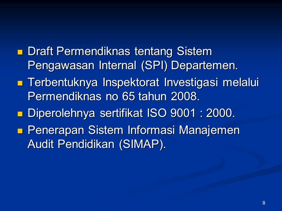 8 Draft Permendiknas tentang Sistem Pengawasan Internal (SPI) Departemen.