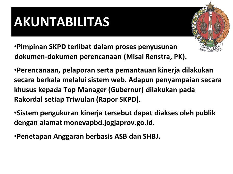 AKUNTABILITAS Pimpinan SKPD terlibat dalam proses penyusunan dokumen-dokumen perencanaan (Misal Renstra, PK). Perencanaan, pelaporan serta pemantauan