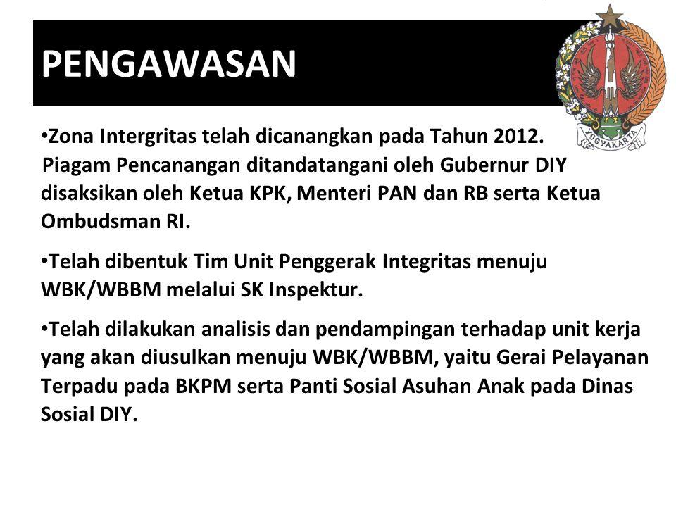 PENGAWASAN Zona Intergritas telah dicanangkan pada Tahun 2012. Piagam Pencanangan ditandatangani oleh Gubernur DIY disaksikan oleh Ketua KPK, Menteri