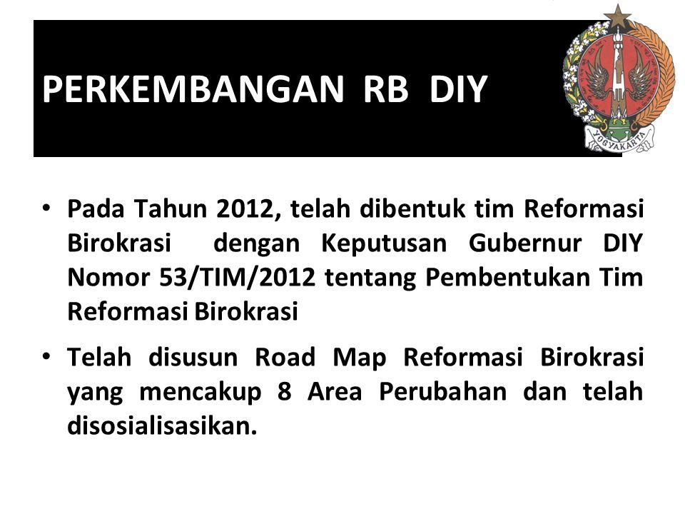 PERKEMBANGAN RB DIY Pada Tahun 2012, telah dibentuk tim Reformasi Birokrasi dengan Keputusan Gubernur DIY Nomor 53/TIM/2012 tentang Pembentukan Tim Reformasi Birokrasi Telah disusun Road Map Reformasi Birokrasi yang mencakup 8 Area Perubahan dan telah disosialisasikan.