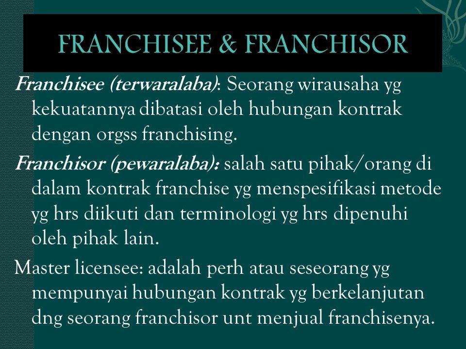 Franchisee (terwaralaba) : Seorang wirausaha yg kekuatannya dibatasi oleh hubungan kontrak dengan orgss franchising. Franchisor (pewaralaba): salah sa