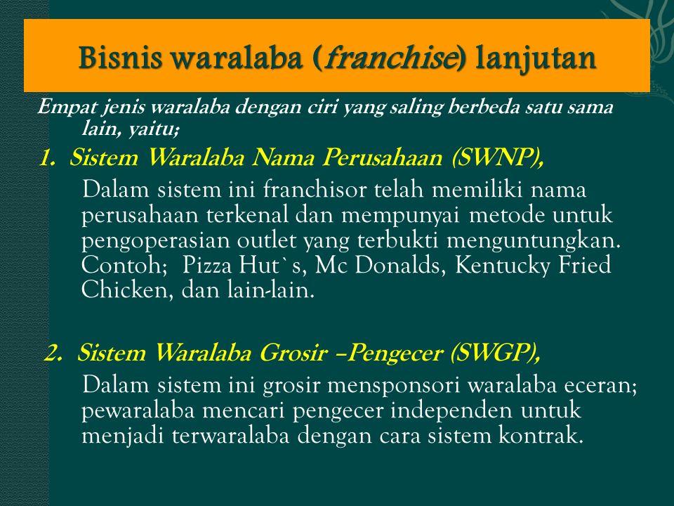 Empat jenis waralaba dengan ciri yang saling berbeda satu sama lain, yaitu; 1. Sistem Waralaba Nama Perusahaan (SWNP), Dalam sistem ini franchisor tel