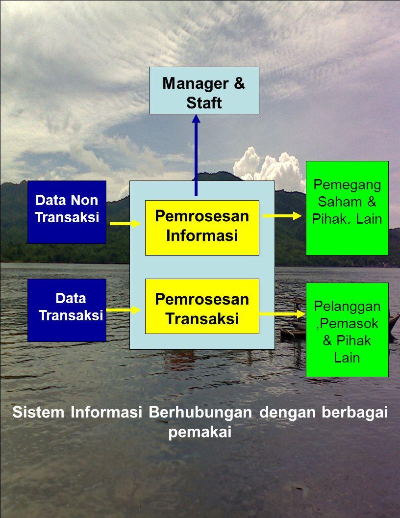 Pemrosesan Informasi Pemrosesan Transaksi Manager & Staft Pemegang Saham & Pihak. Lain Pelanggan,Pemasok & Pihak Lain Data Non Transaksi Data Transaks