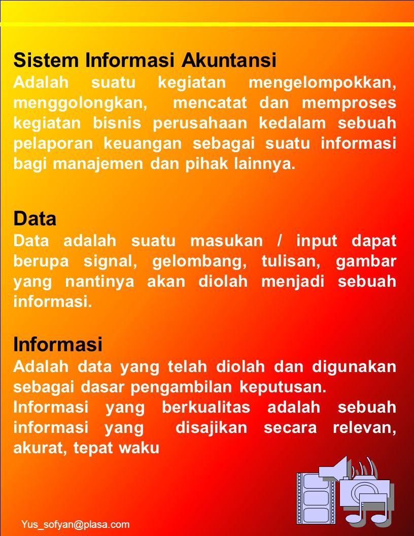Sistem Informasi Akuntansi Adalah suatu kegiatan mengelompokkan, menggolongkan, mencatat dan memproses kegiatan bisnis perusahaan kedalam sebuah pelap