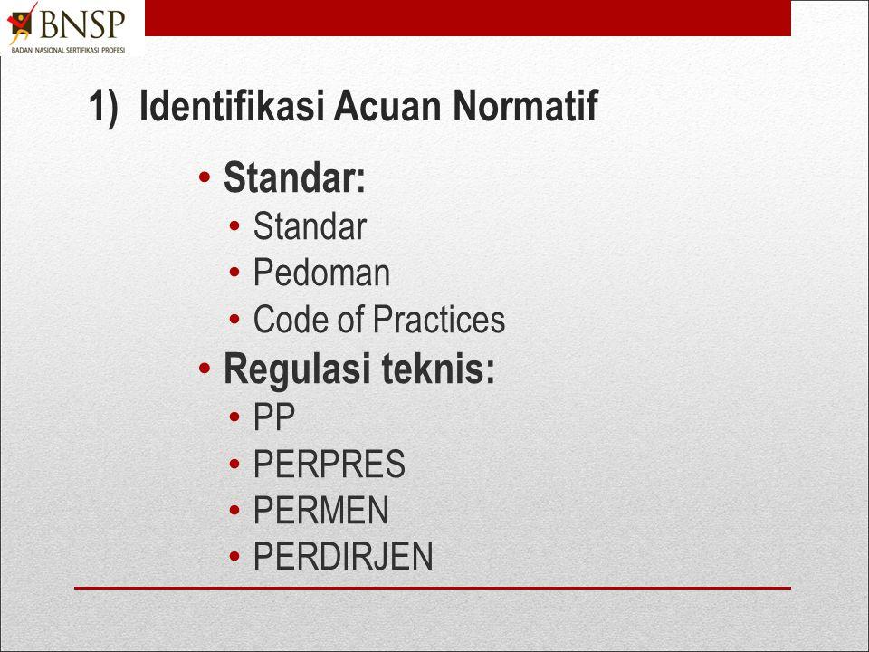 1. Mengembangkan Komitmen Pemangku Kepentingan 1)Identifikasi acuan normatif pengembangan LSP, yakni: Pedoman BNSP dan regulasi teknis pada bidang sub