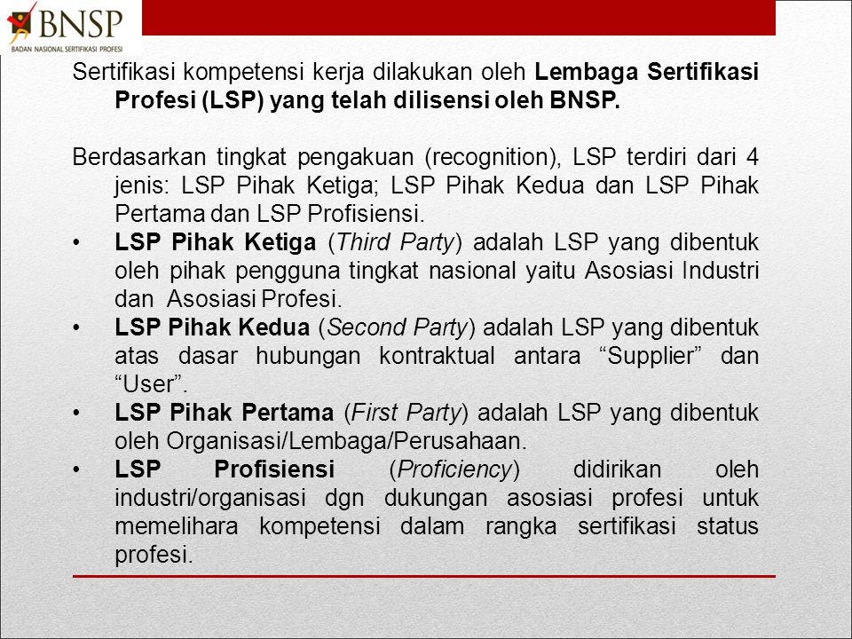 Sertifikasi kompetensi kerja dilakukan oleh Lembaga Sertifikasi Profesi (LSP) yang telah dilisensi oleh BNSP.