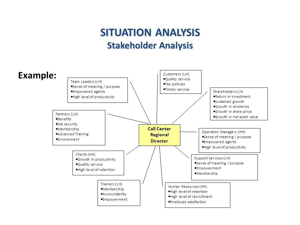 SITUATION ANALYSIS Stakeholder Analysis Shareholders (LH)  Return in investment  Sustained growth  Growth in dividends  Growth in share price  Growth in net asset value Trainers (LH)  Membership  Accountability  Empowerment Human Resources (HH)  High level of retention  High level of recruitment  Employee satisfaction Customers (LH)  Quality service  Fair policies  Timely service Clients (HH)  Growth in productivity  Quality service  High level of retention Support Services (LH)  Sense of meaning / purpose  Empowerment  Membership Partners (LH)  Benefits  Job security  Membership  Advanced Training  Environment Operation Managers (HH)  Sense of meaning / purpose  Empowered agents  High level of productivity Team Leaders (LH)  Sense of meaning / purpose  Empowered agents  High level of productivity Call Center Regional Director Example: