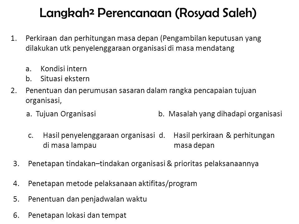 Langkah² Perencanaan (Rosyad Saleh) 1.Perkiraan dan perhitungan masa depan (Pengambilan keputusan yang dilakukan utk penyelenggaraan organisasi di masa mendatang a.Kondisi intern b.Situasi ekstern 2.Penentuan dan perumusan sasaran dalam rangka pencapaian tujuan organisasi, a.