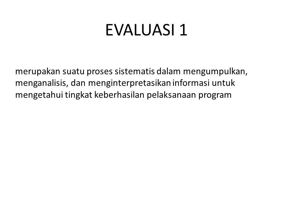 EVALUASI 1 merupakan suatu proses sistematis dalam mengumpulkan, menganalisis, dan menginterpretasikan informasi untuk mengetahui tingkat keberhasilan pelaksanaan program