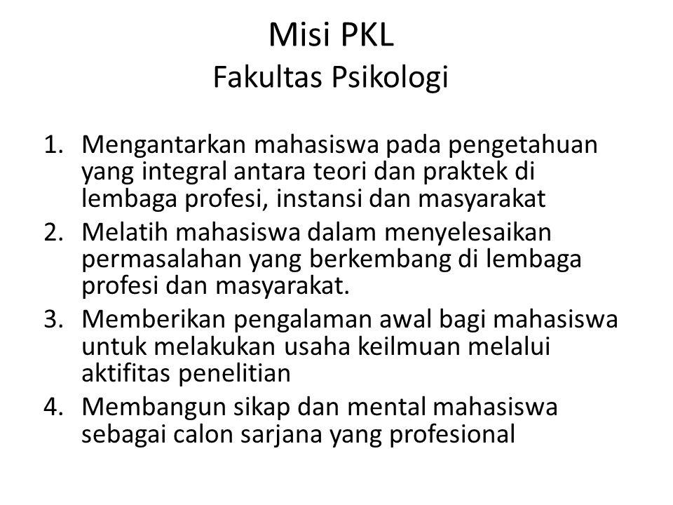Misi PKL Fakultas Psikologi 1.Mengantarkan mahasiswa pada pengetahuan yang integral antara teori dan praktek di lembaga profesi, instansi dan masyarakat 2.Melatih mahasiswa dalam menyelesaikan permasalahan yang berkembang di lembaga profesi dan masyarakat.