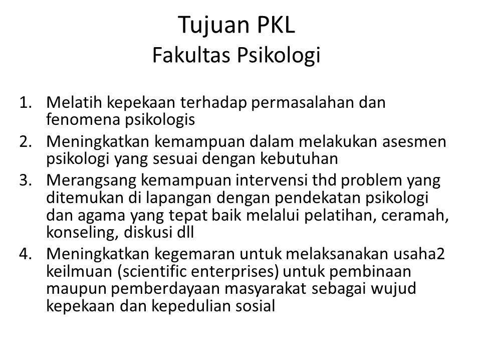 Tujuan PKL Fakultas Psikologi 1.Melatih kepekaan terhadap permasalahan dan fenomena psikologis 2.Meningkatkan kemampuan dalam melakukan asesmen psikol