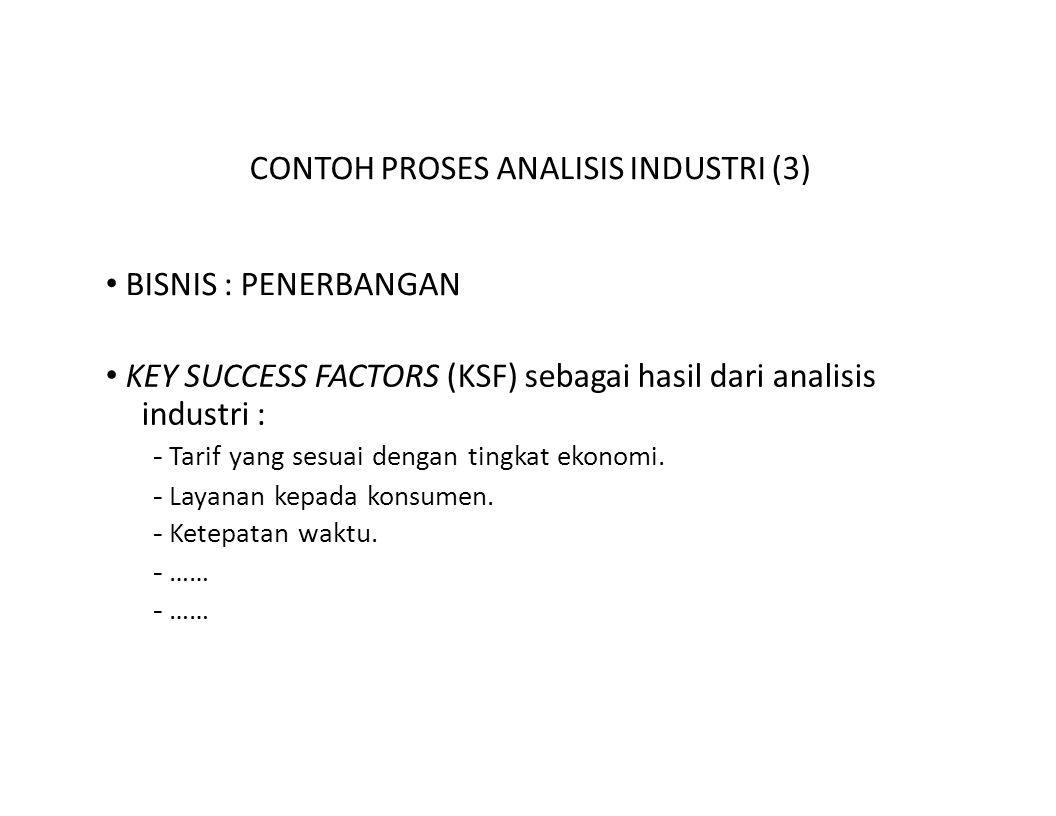 CONTOH PROSES ANALISIS INDUSTRI (3) BISNIS : PENERBANGAN KEY SUCCESS FACTORS (KSF) sebagai hasil dari analisis industri : - Tarif yang sesuai dengan t