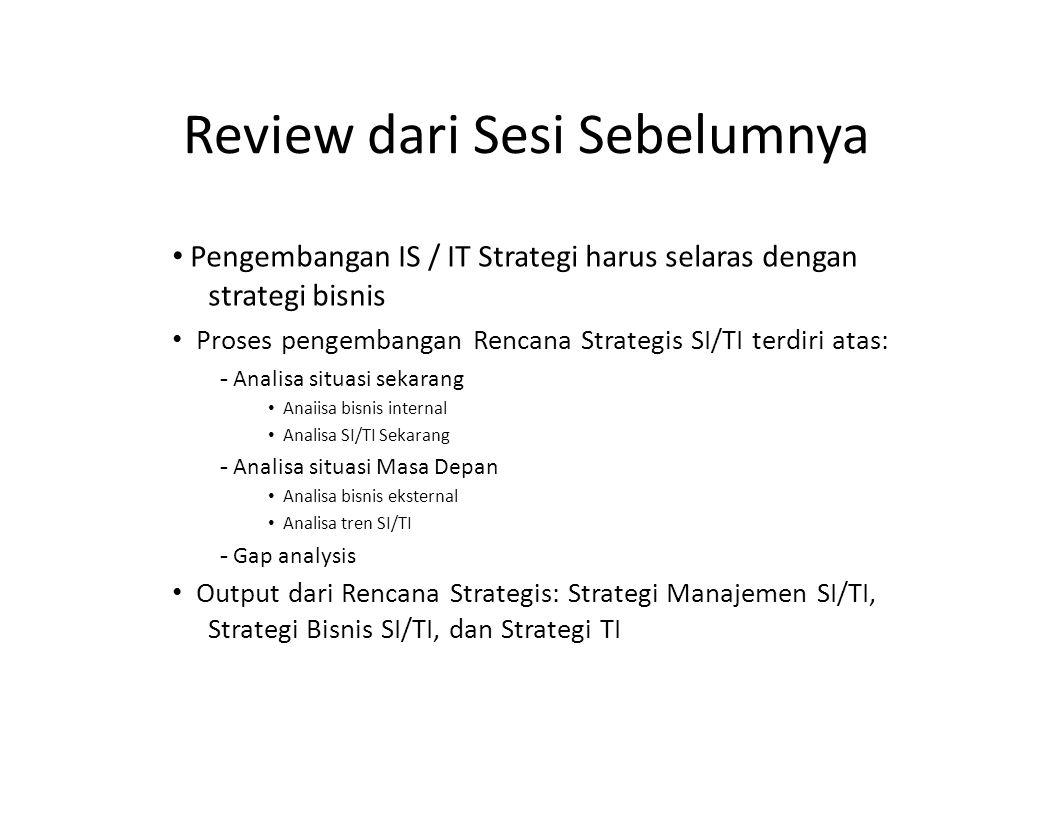 Review dari Sesi Sebelumnya Pengembangan IS / IT Strategi harus selaras dengan strategi bisnis Proses pengembangan Rencana Strategis SI/TI terdiri ata