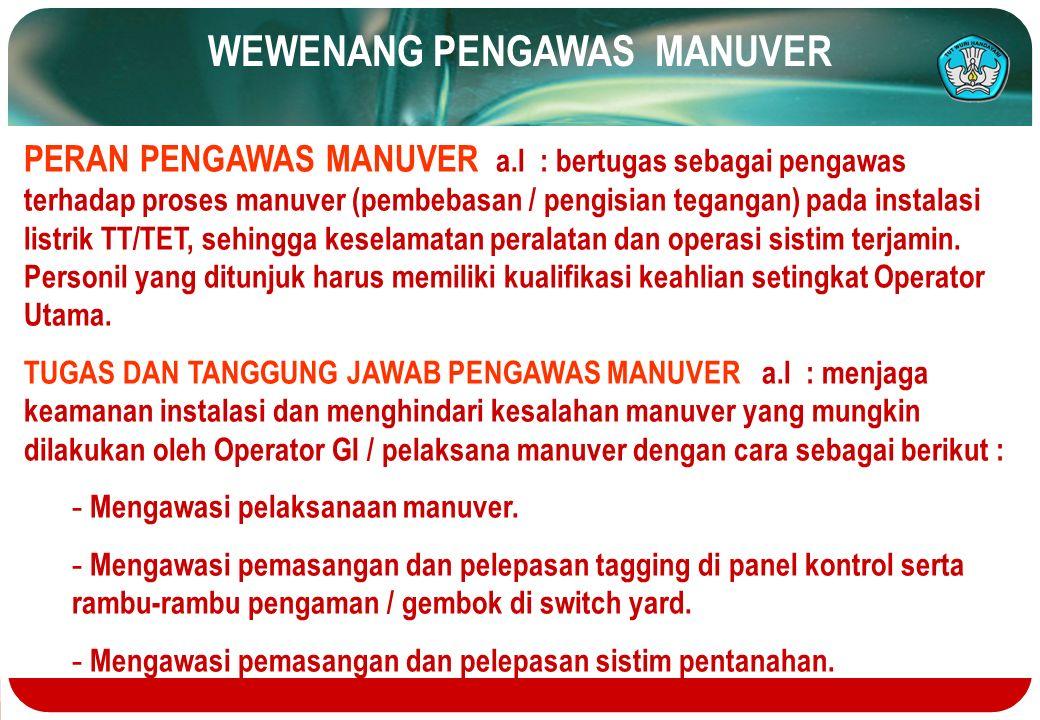 WEWENANG PENGAWAS MANUVER PERAN PENGAWAS MANUVER a.l : bertugas sebagai pengawas terhadap proses manuver (pembebasan / pengisian tegangan) pada instal