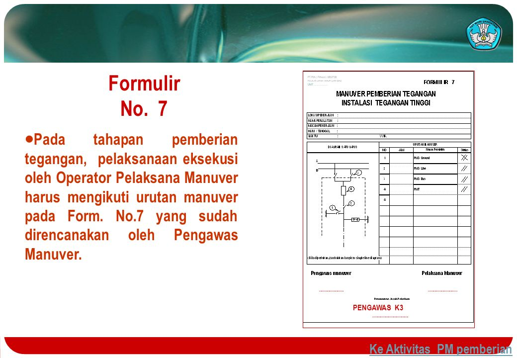 Formulir No. 7  Pada tahapan pemberian tegangan, pelaksanaan eksekusi oleh Operator Pelaksana Manuver harus mengikuti urutan manuver pada Form. No.7