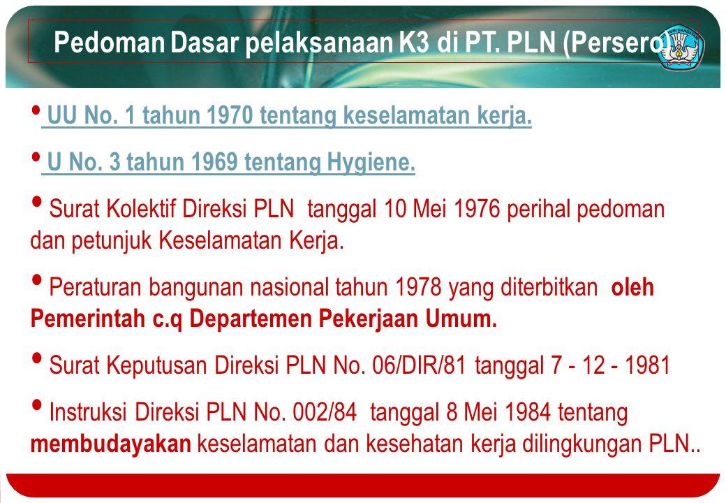 Pedoman Dasar pelaksanaan K3 di PT. PLN (Persero) UU No. 1 tahun 1970 tentang keselamatan kerja. U No. 3 tahun 1969 tentang Hygiene. Surat Kolektif Di