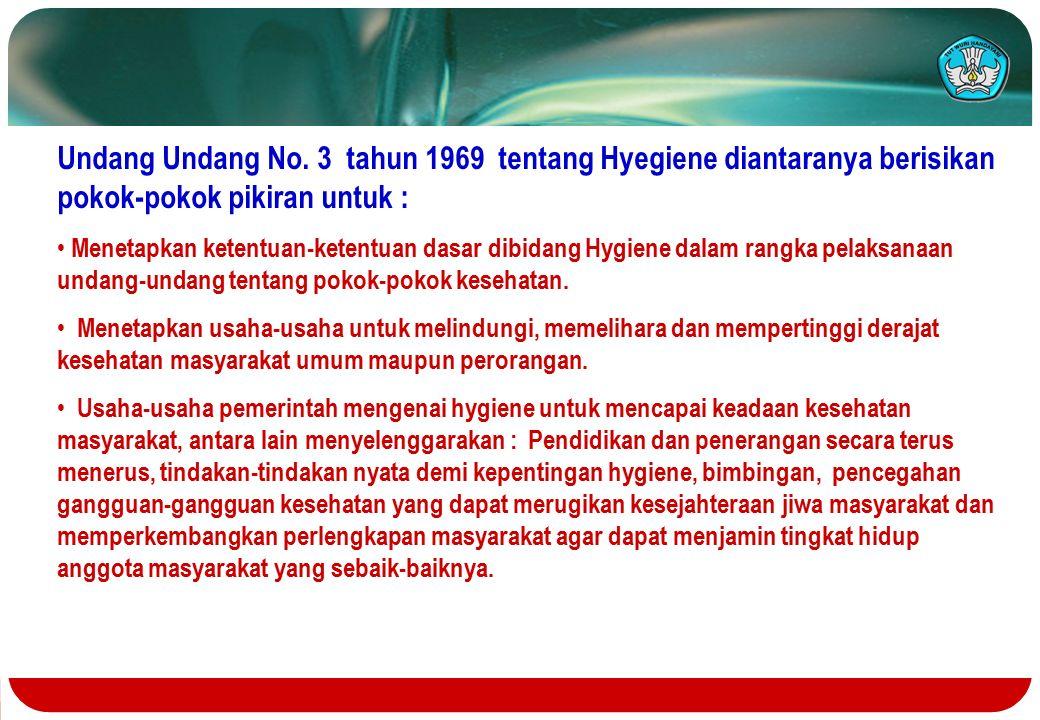 Undang Undang No. 3 tahun 1969 tentang Hyegiene diantaranya berisikan pokok-pokok pikiran untuk : Menetapkan ketentuan-ketentuan dasar dibidang Hygien