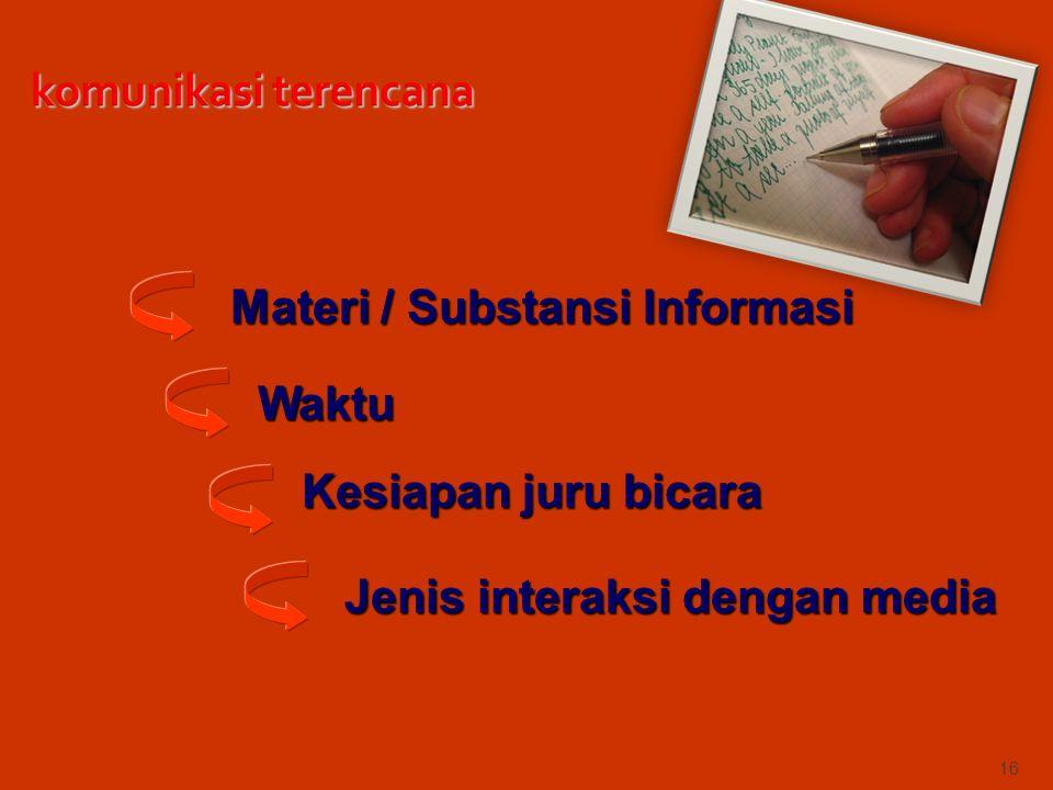 16 Materi / Substansi Informasi Waktu Kesiapan juru bicara Jenis interaksi dengan media